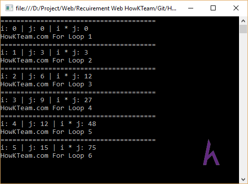 Vòng lặp For trong C#,C# cơ bản, tự học C#, Kteam, HowKteam