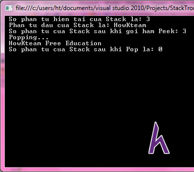 Stack trong C#,Push ,Pop ,ToArray,Peek,Contains ,CopyTo